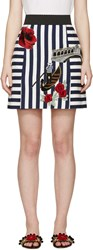 Dolce And Gabbana White And Navy Embroidered Miniskirt
