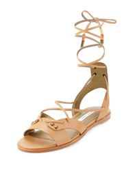 Cynthia Vincent Fantine Leather Lace Up Sandal Natural