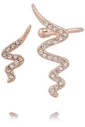 Kevia Rose Gold Plated Crystal Ear Cuff And Earring Nude