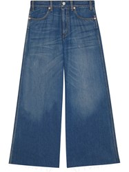 Gucci Wide Leg Denim Trousers With Patch Blue