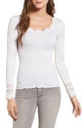 Rosemunde Women's Silk And Cotton Rib Knit Tee New White