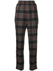 Chanel Vintage Plaid Cropped Trousers Black