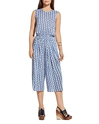 Two By Vince Camuto Abstract Print Jumpsuit Evening Navy