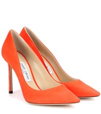 Jimmy Choo Romy 100 Suede Pumps Orange