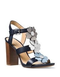 Michael Michael Kors Kit Leather Stacked Heel Sandals Admiral Blue