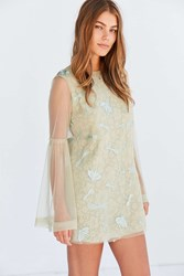 Kimchi And Blue Soft Landing Embroidered Mesh Lace Mini Dress Neutral Multi