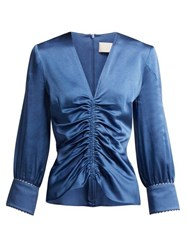 Peter Pilotto Ruched Satin Blouse Blue