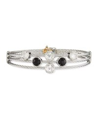Alor Classique Triple Cable Bangle W Black Onyx And White Topaz Black Silver