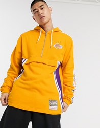 Mitchell And Ness La Lakers French Terry Half Zip Hoodie In Yellow