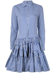 Jourden Checked Flared Shirt Dress Women Cotton 38 Blue