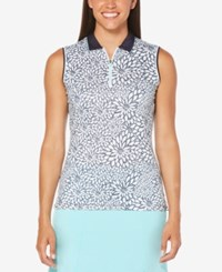 Callaway Floral Print Sleeveless Golf Polo Peacoat