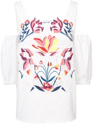 Tanya Taylor Floral Embroidered Dropped Shoulders Blouse White
