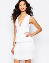 Y.A.S Ilsa Dress With Ruffle Pleat Skirt Bright White