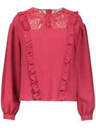 Martha Medeiros Long Sleeved Crepe Top Red