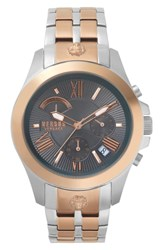Versus By Versace Lion Chronograph Bracelet Watch 44Mm Silver Rose Gold
