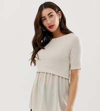 Mamalicious Nursing Double Layer Top Beige