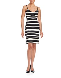 French Connection Striped Bodycon Dress Black