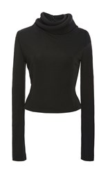 Brandon Maxwell Knit Gauguin Double Layer Turtleneck Top Black