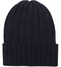 The Elder Statesman Ribbed Cashmere Beanie Cus 1 Blue Blk