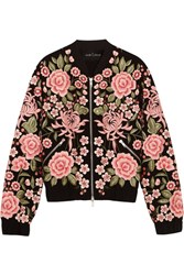 Needle And Thread Embroidered Embellished Crepe Bomber Jacket Black