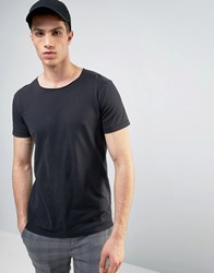 Solid T Shirt In Oil Wash With Raw Neckline Black