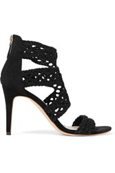 Sandro Agate Cutout Crocheted Suede Sandals Black