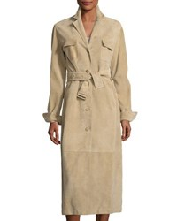 The Row Zoe Perforated Suede Trenchcoat Sand