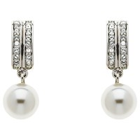 Finesse Swarovski Crystal And Glass Pearl Drop Earrings Silver White