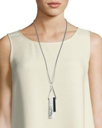 Lafayette 148 New York Long Double Rectangle Necklace Greystone Multi