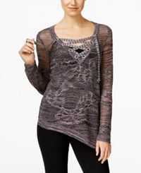 Inc International Concepts Asymmetrical Lace Up Sweater Only At Macys Deep Black