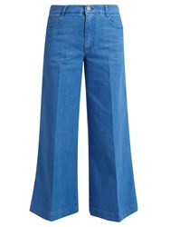 Stella Mccartney High Waisted Denim Culottes Blue