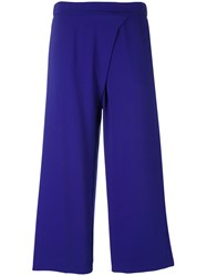P.A.R.O.S.H. Wide Leg Cropped Trousers Women Polyester Xs Blue