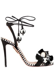 Aquazzura 105Mm Tropicana Suede And Snake Sandals