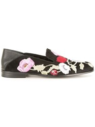 Alexander Mcqueen Embroidered Floral Slippers Black