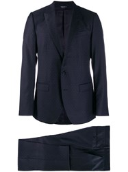 Dolce And Gabbana Dotted Two Piece Suit Blue
