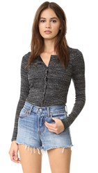David Lerner Henley Bodysuit Charcoal Heather