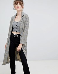 New Look Check Textured Duster Coat Black Pattern