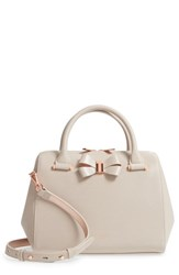 Ted Baker London Small Bowsiia Leather Bowler Bag Ivory Taupe