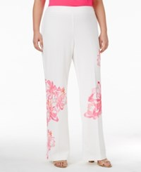 Inc International Concepts Plus Size Floral Print Trousers Only At Macy's White Peony
