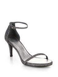 Stuart Weitzman Naked Evening Lame Sandals Platinum