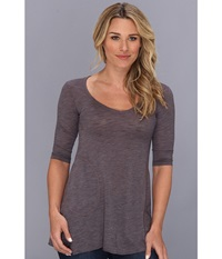 Allen Allen Slub Angled 3 4 Tunic Dark Grey Women's T Shirt Gray