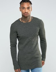 Asos Longline Muscle Fit Ribbed Jumper Khaki And Black Twist Green
