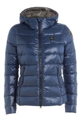 Blauer Quilted Down Jacket With Hood Blue