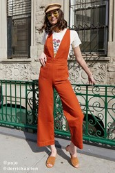 Urban Outfitters Uo Eleanor Plunging Denim Jumpsuit Rust