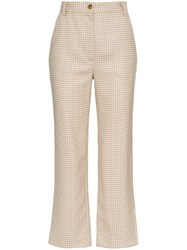 Maryam Nassir Zadeh Willow Houndstooth Wool Trousers Brown