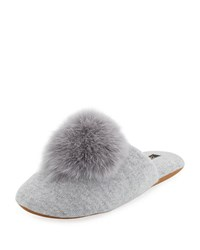 Minnie Rose Cashmere Fur Pompom Slipper Silver