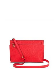 Loewe Logo Embossed Leather Crossbody Pouch Red Black