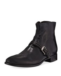 John Varvatos Eldridge Buckled Vamp Leather Boot Black