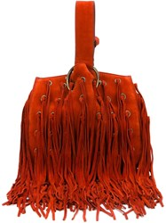Roberto Cavalli Fringed Handbag Red