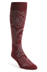 Men's The Tie Bar 'Paisley' Socks Red Burgundy